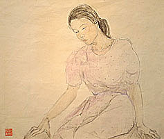 A Young Woman in a Lavender Dress, Kneeling