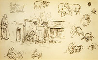 Studies of Sheep and Shepherds; A Flock of Sheep at a Gate